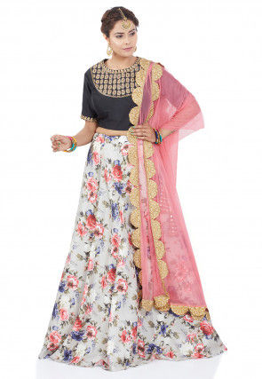 Printed Dupion Silk Lehenga in Light Grey