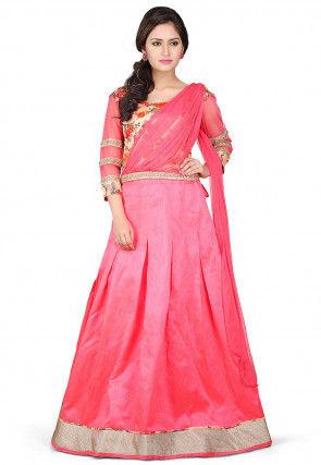 Plain Dupion Silk Lehenga in Pink