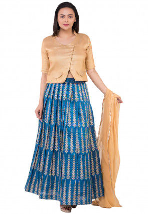 Printed Dupion Silk Lehenga in Teal Blue