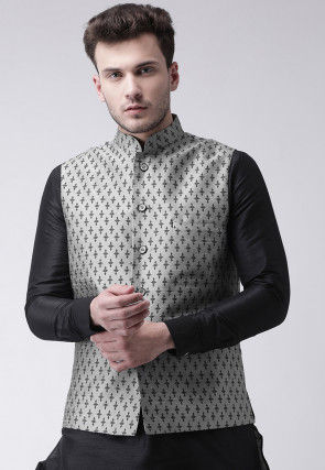 Printed Dupion Silk Nehru Jacket in Light Grey