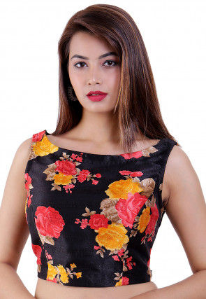 Printed Dupion Silk Padded Blouse in Black