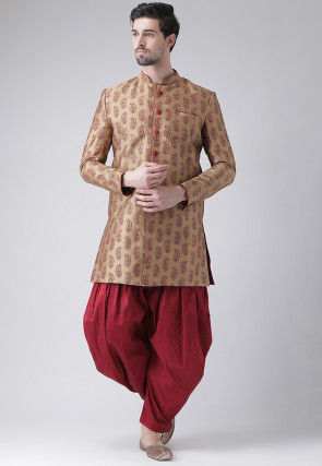 Printed Dupion Silk Sherwani in Dark Beige