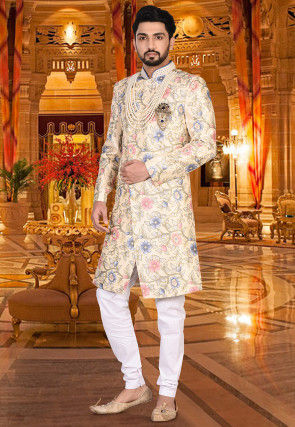 Printed Dupion Silk Sherwani in Light Beige