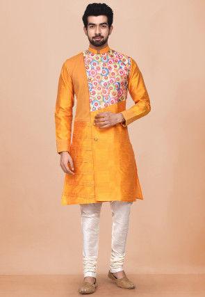 Printed Dupion Silk Sherwani in Mustard