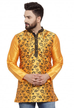 Printed Dupion Silk Short Kurta in Mustard