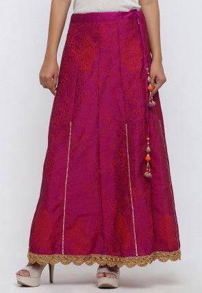 Printed Dupion Silk Skirt in Megenta