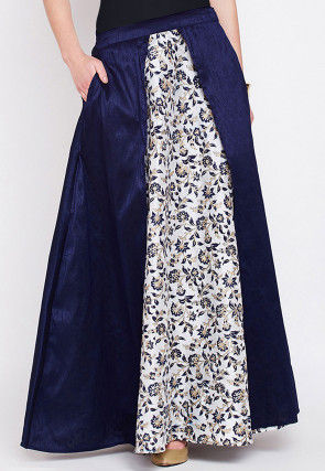 Printed Dupion Silk Skirt in Navy Blue and Off White