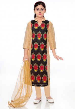 Printed Dupion Silk Straight Suit in Black and Beige