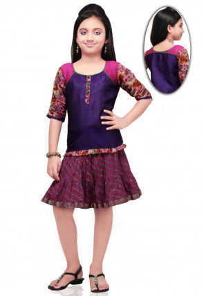 Printed Dupion Silk Top with Skirt in Purple