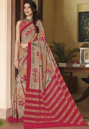 Printed Faux Crepe Saree in Fawn and Pink