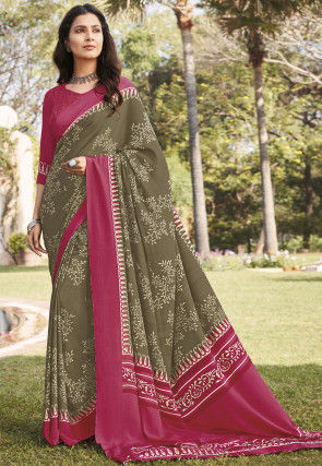 Printed Faux Crepe Saree in Grey