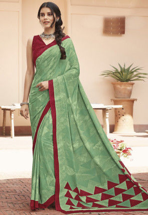 Printed Faux Crepe Saree in Light Green
