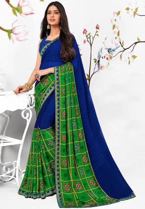 Printed Georgette Saree in Royal Blue and Green