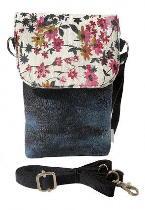 Printed Flap Denim Mobile Pouch in Dark Blue and Off White