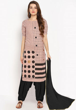 Printed Flex Cotton Punjabi Suit in Dusty Pink