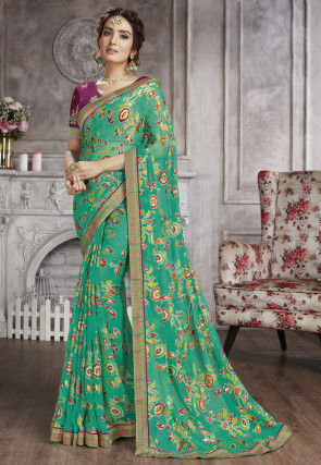 Printed Geogette Brasso Saree in Teal Green