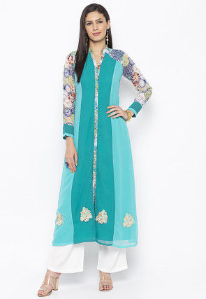 Printed Georgette A Line Kurta in Teal Blue