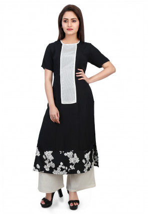 Printed Georgette A line Kurta Set in Black and White
