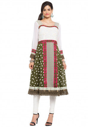 Printed Georgette A Line Kurta Set in Olive Green and White