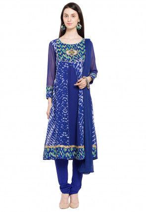 Printed Georgette A Line Suit in Blue