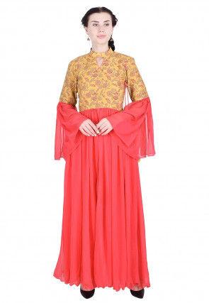 Printed Georgette Abaya Style Kurta in Pink and Mustard