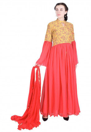 Printed Georgette Abaya Style Suit in Pink and Mustard