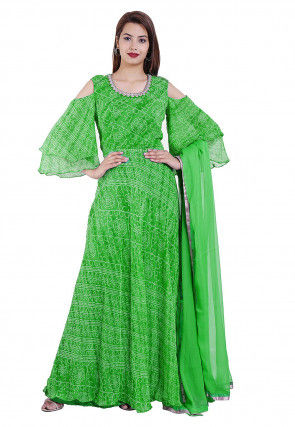 Printed Georgette Abaya Style Suit in Green