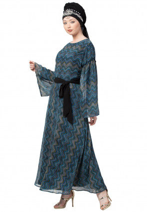 Printed Georgette Abaya with Belt in Teal Blue and Multicolor