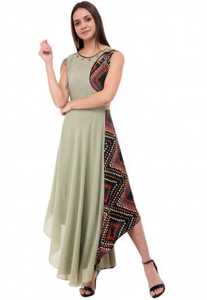 Printed Georgette Asymmetric Dress in Dusty Green and Multicolor