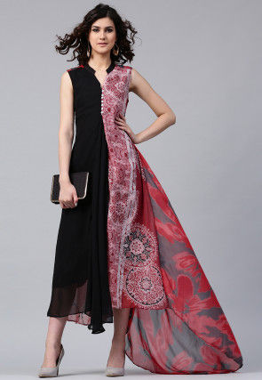 Printed Georgette Asymmetric Kurta in Black and Red