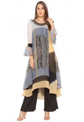 Printed Georgette Asymmetric Pakistani Suit in Grey