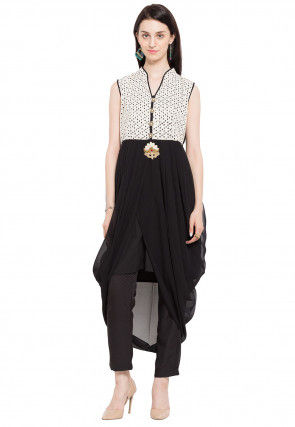 Printed Georgette Asymmetric Tunic in Black and White