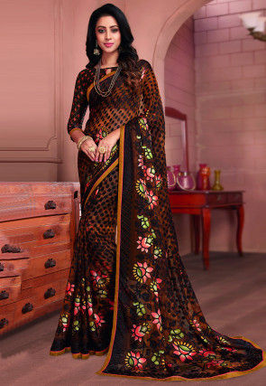 Printed Georgette Brasso Saree in Brown and Black