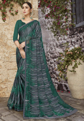 Printed Georgette Brasso Saree in Green and Grey