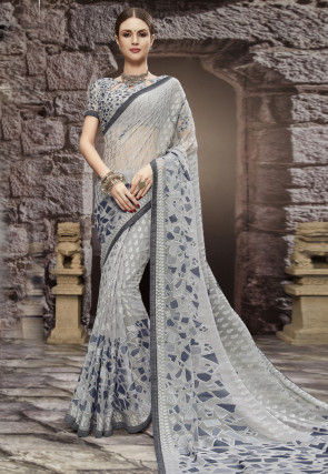 Printed Georgette Brasso Saree in Light Grey