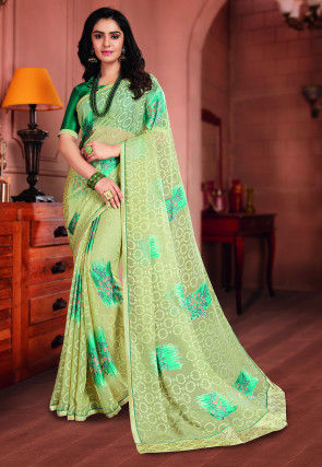Printed Georgette Brasso Saree in Pastel Green