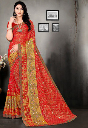 Printed Georgette Brasso Saree in Red