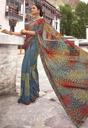 Printed Georgette Half N Half Saree in Grey and Multicolor
