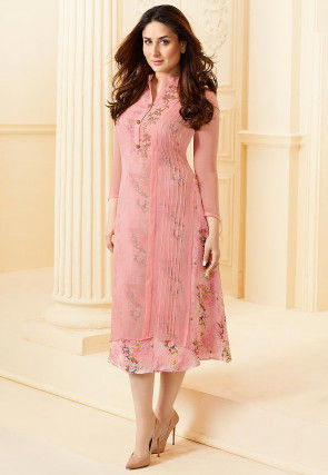 Printed Georgette Layered Kurta in Pink