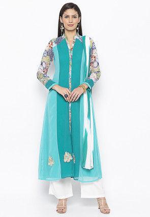 Printed Georgette Pakistani Suit in in Teal Blue