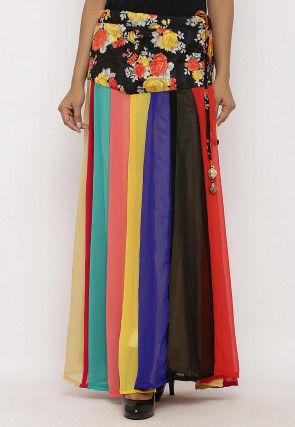 Printed Georgette Panelled Skirt in Multicolor