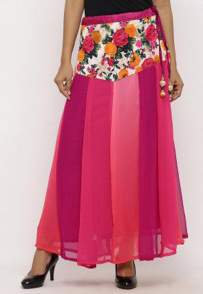 Printed Georgette Panelled Skirt in Multicolor