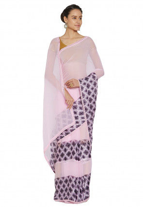 Printed Georgette Saree in Baby Pink