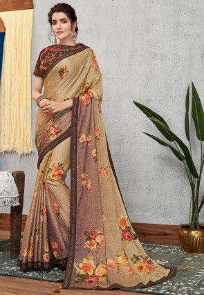 Printed Georgette Saree in Beige and Brown