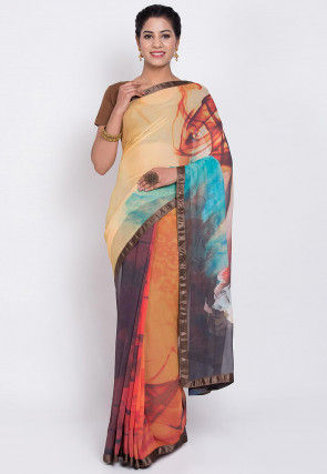 Printed Georgette Saree in Beige and Multicolor