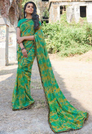 Printed Georgette Saree in Beige and Teal Green