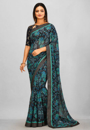 Printed Georgette Saree in Black and Turquoise