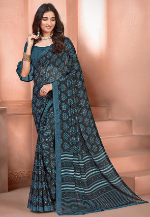 Printed Georgette Saree in Black