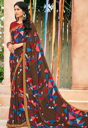 Printed Georgette Saree in Brown and Multicolor
