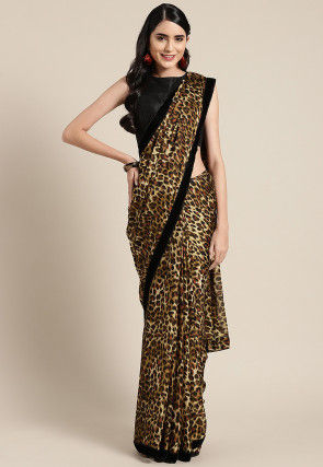 Printed Georgette Saree in Brown